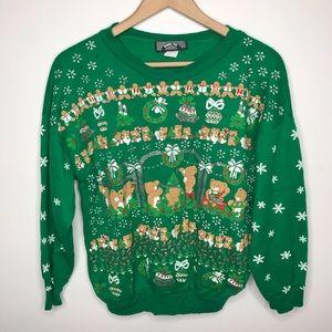 Vintage Green Ugly Christmas Bear Sweater